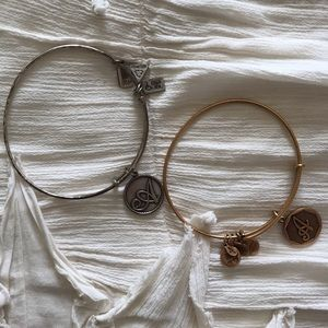"Gold and Silver Alex and Ani ""A"" Bracelets"